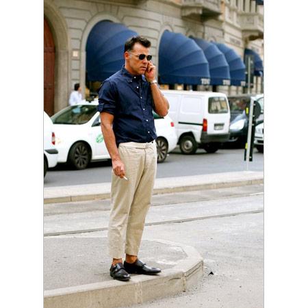 Lacivert Erkek Gömlek Bej Keten Pantalon