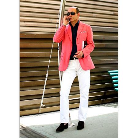 Erkek Pembe Keten Ceket, Beyaz Pantalon, Siyah Gömlek
