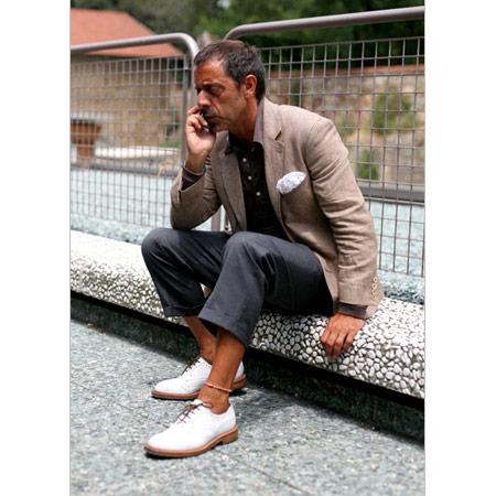 Keten Ceket Pantalon Beyaz Ayakkabı