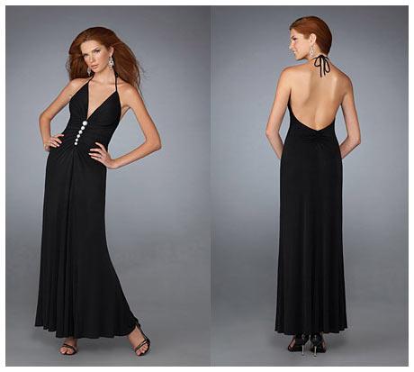 İnce Askılı Açık Sırtlı Siyah Uzun Gece Elbisesi