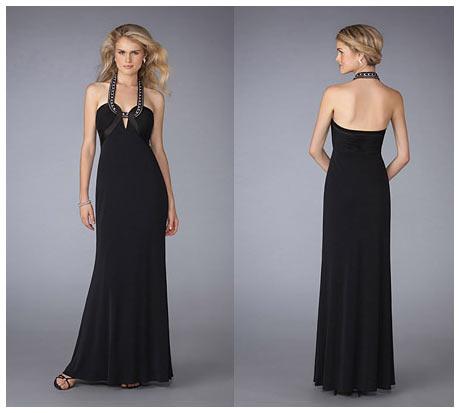 Kalın Askılı Tamamı Açık Sırt Dekolteli Siyah Gece Elbisesi