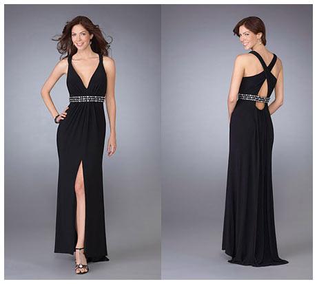 Bacak ve Göğüs Dekolteli Sırtı Çapraz Askılı Uzun Siyah Gece Elbisesi