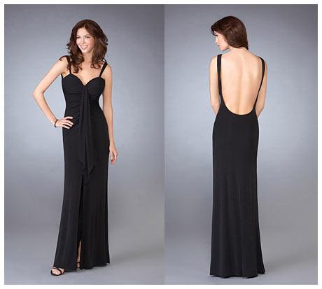 Derin Sirt Dekolteli Uzun Siyah Gece Elbisesi