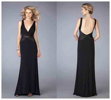 Uzun V Göğüs Dekolteli Sırtı Açık Siyah Uzun Gece Elbisesi