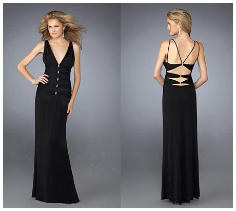 V Gogus ve Sirt Dekolteli Uzun Siyah Gece Elbisesi