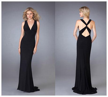 Gogus ve Capraz Sirt Dekolteli Uzun Siyah Gece Elbisesi