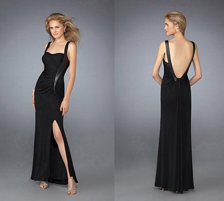 Dikey Askili, Bacak ve Sirt Dekolteli Uzun Siyah Gece Elbisesi