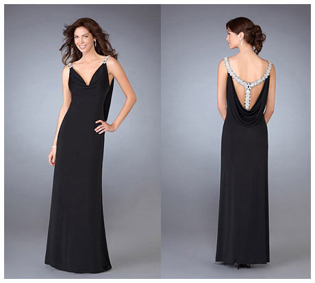 Sırt Dekolteli Uzun Siyah Gece Elbisesi