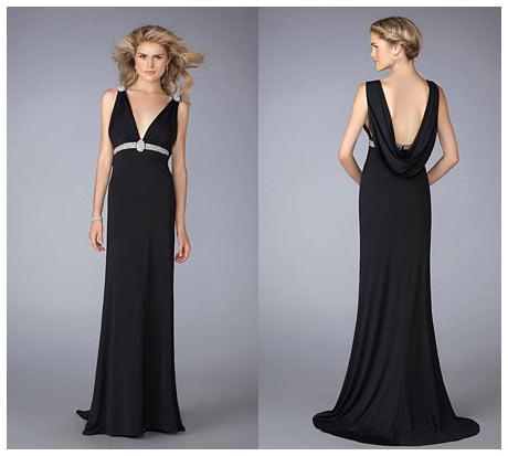 V Sırt Dekolteli Uzun Siyah Gece Elbisesi