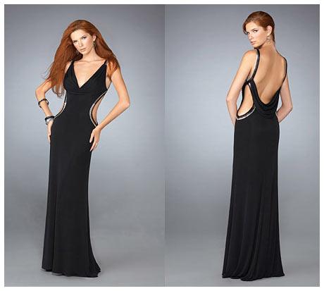 Yan ve Sırt Dekolteli V Göğüs Uzun Siyah Gece Elbisesi