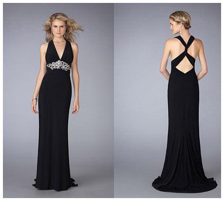 Çapraz Askılı Sırt Dekolteli V Göğüs Uzun Siyah Gece Elbisesi