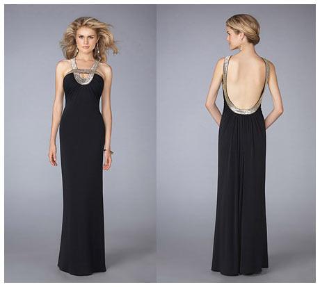 Derin Sırt Dekolteli Kenarları Yaldızlı Biyeli Siyah Gece Elbisesi