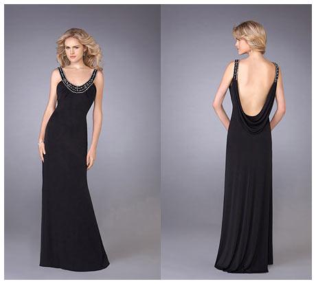 Askılı Derin Sırt Dekolteli Uzun Siyah Gece Elbisesi