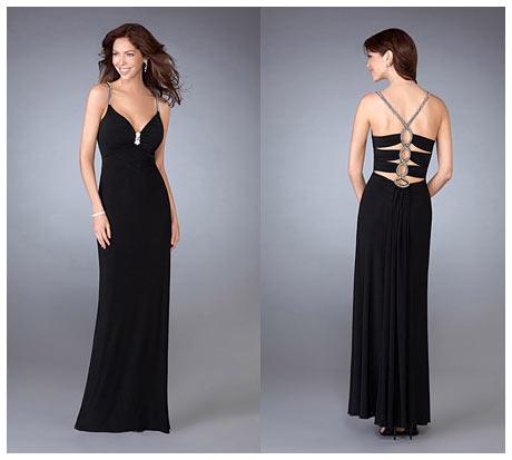 İnce Askılı Göğüs ve Çapraz Örme Sırt Dekolteli Siyah Gece Elbisesi