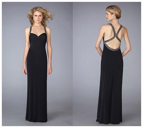 Askılı Çift Çapraz Sırt Dekolteli Siyah Gece Elbisesi