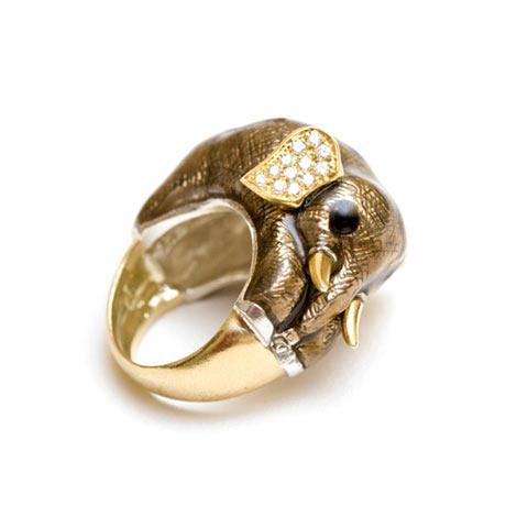 Delfina Delettrez - Altın, mine ve elmas fil yüzük
