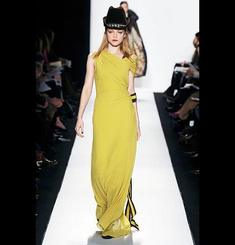 Carolina Herrera Kısa Kollu Uzun Sarı Elbise