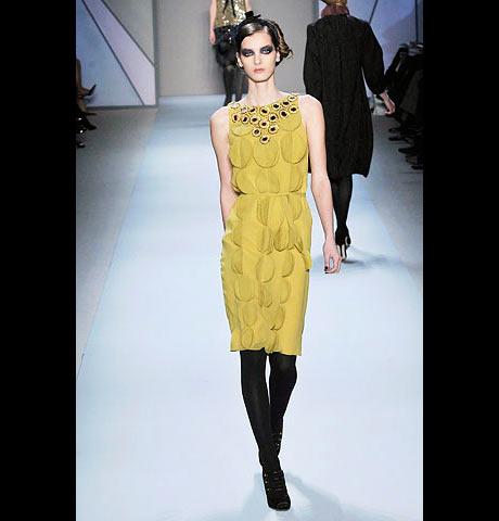 Monique Lhuillier İşlemeli Sarı Elbise