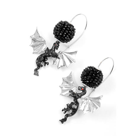 Delfina Delettrez - Gümüş, mine ve siyah spinel ejderha küpe