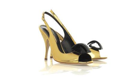 Rupert Sanderson - Metalik altın renkli ince topuklu ayakkabı