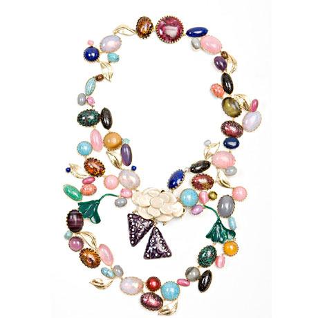 John Galliano - Cam ve mineli boncuk kolye takı