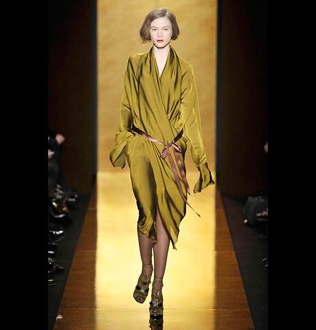 Donna Karan Sarı Kahverengi V Yaka Elbise