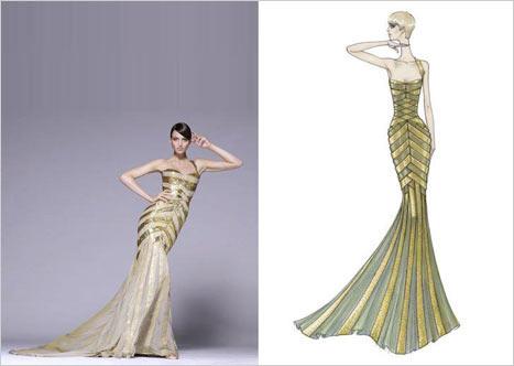 Versace Çizgili Elbise