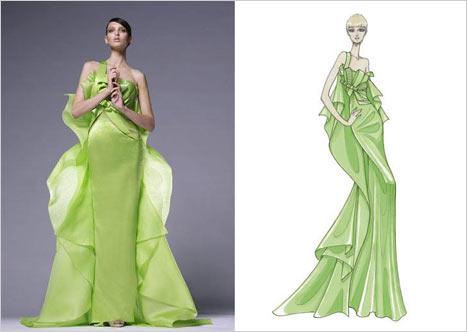 Versace Uzun Yeşil Askılı Elbise
