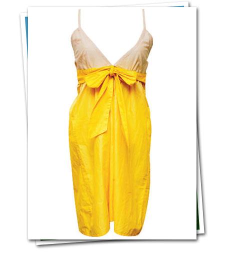 yazlık v yaka sarı elbise matalan