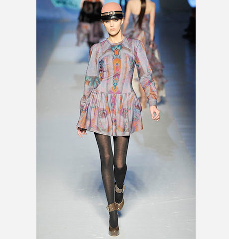 Etro geleneksel şal desenli mini elbise