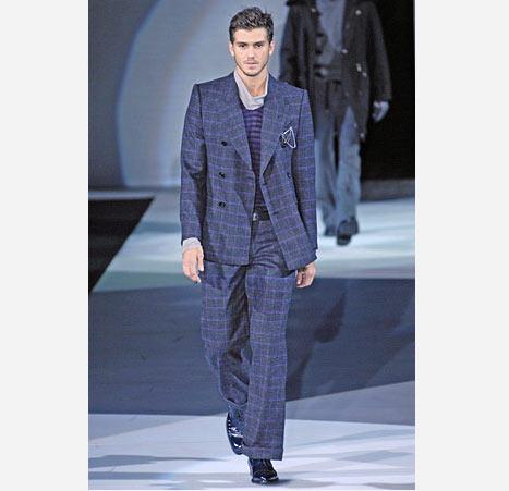 Lacivert kareli erkek takım elbise modeli