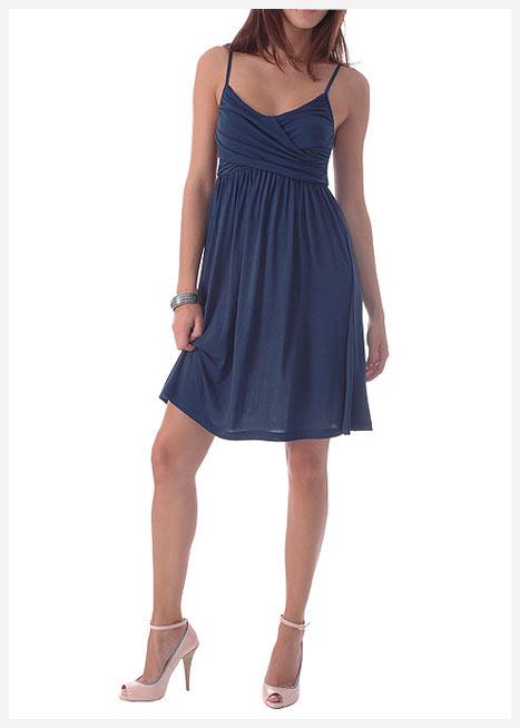 mango askılı dekolte mavi elbise