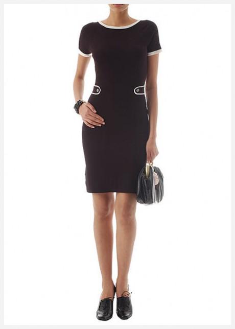 Beyaz Biyeli Gündelik Siyah Elbise