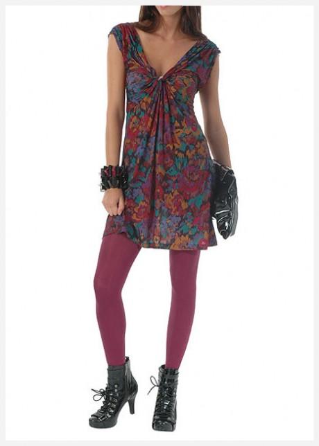 Büzgülü V Yaka Renkli Elbise