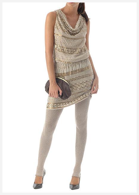 Dökümlü yakalı tunik elbise
