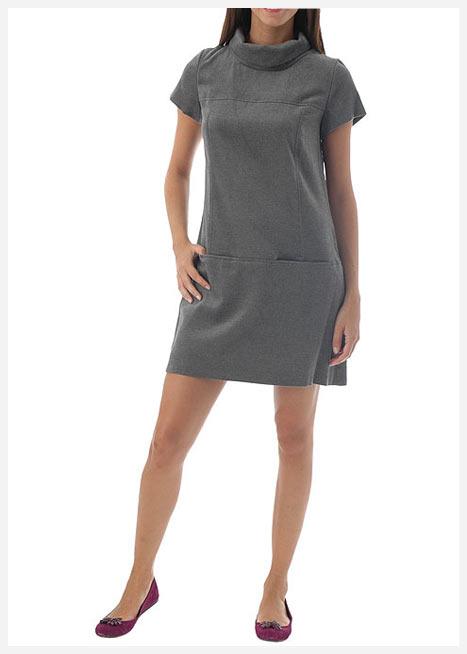 gri renk kapalı yaka elbise