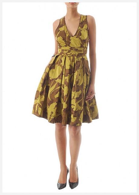 Sarı Kahve V Yaka Mini Elbise