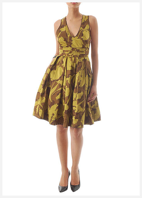 mango sari kahverengi v yaka mini elbise