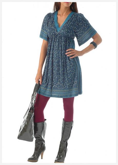 V Yaka Mavi Elbise