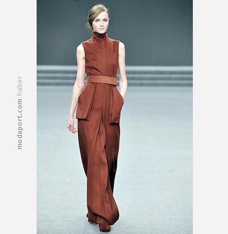 Akris kızıl toprak rengi uzun elbise