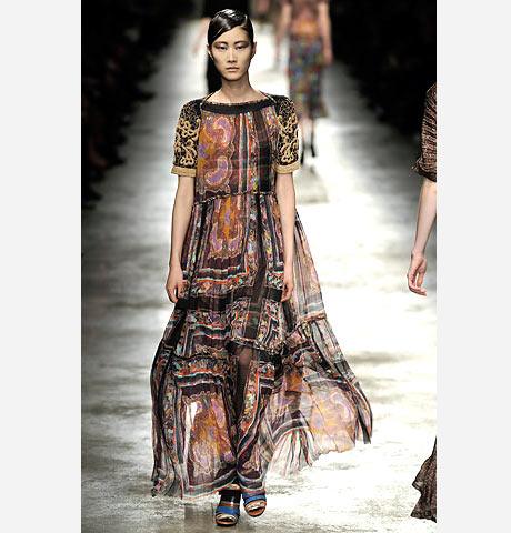 Dries Van Noten etnik transparan uzun elbise