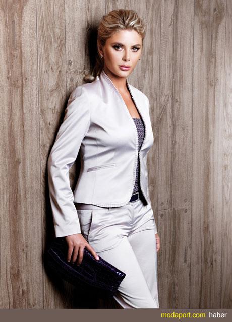 Beyaz Bayan Takım Elbise çalışan kadınlar için ideal ve hoş bir seçenek