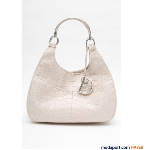 Christian Dior - Timsah derisi beyaz mini çanta