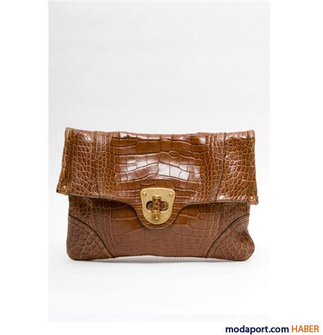 Alexander McQueen - Timsah derisi desen kahverengi el çantası
