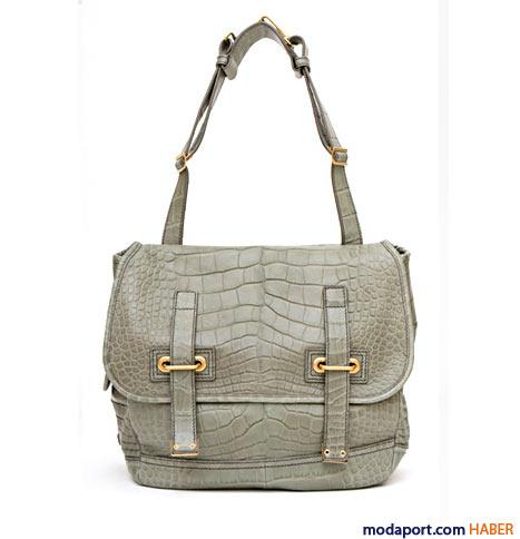 Yves Saint Laurent - Timsah desenli Besace çanta