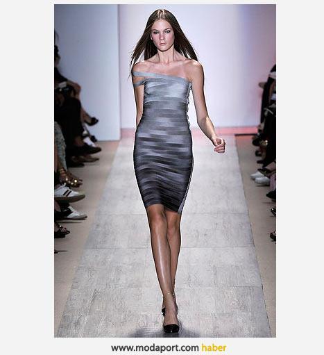 Gri geçişli dar mini elbise
