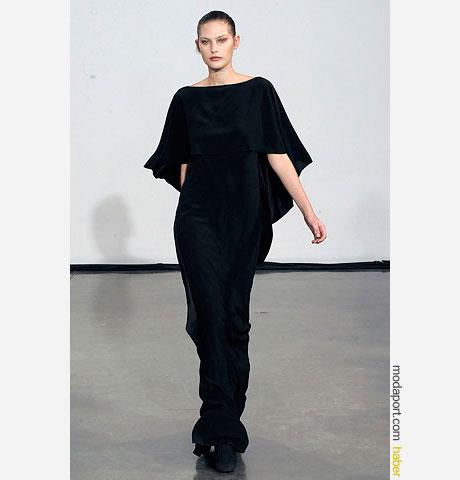 Halston siyah gece elbisesi