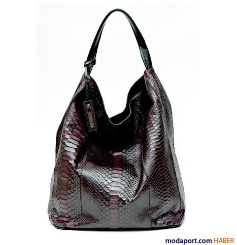 Jil Sander - Tek saplı yılan derisi bordo çanta