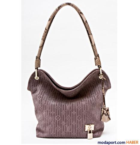 Louis Vuitton - Yılan derisi saplı monogram süet çanta