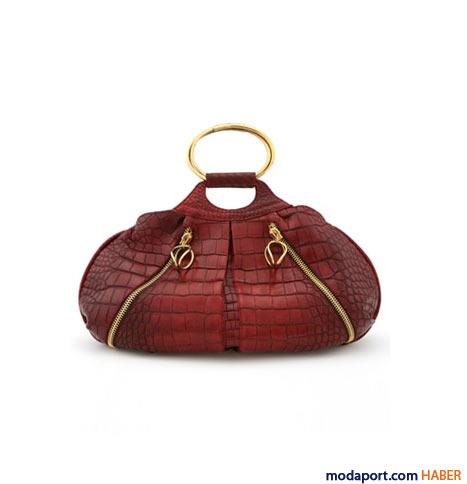 Donna Karan - Timsah derisi metal saplı çanta